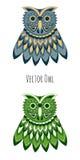 Búho coloreado vector Fotografía de archivo libre de regalías