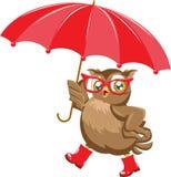 Búho de la moda debajo del paraguas ilustración del vector
