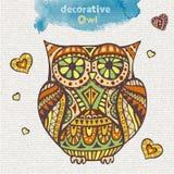 Búho decorativo ilustración del vector