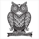 Búho decorativo hermoso de la impresión del vector con mucho libre illustration