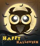 Búho del cartel de Halloween Fotos de archivo