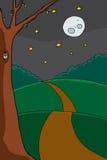 Búho en árbol en la noche ilustración del vector
