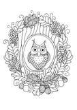 Búho en el árbol de hueco stock de ilustración