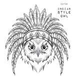 Búho en la cucaracha india Tocado indio de la pluma del águila Tienda extrema del deporte Imagenes de archivo