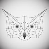 Búho geométrico de la cabeza del vector dibujado en el estilo de la línea o del triángulo, convenientes para las plantillas polig imagen de archivo