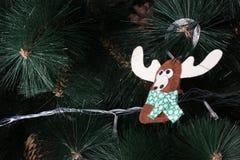 Búho hecho a mano del fieltro en el árbol de navidad con los conos Imagenes de archivo