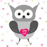 Búho lindo con el corazón Diseño de tarjeta del día de tarjetas del día de San Valentín Foto de archivo libre de regalías