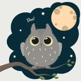 Búho lindo de la historieta con un cartel de Halloween de la Luna Llena stock de ilustración