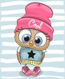 Búho lindo en un sombrero y una bufanda stock de ilustración