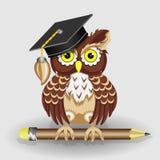 Búho listo del científico con el lápiz y en el ejemplo del casquillo libre illustration