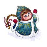 Búho Nieve-virginal en vector del carácter de la capa Foto de archivo libre de regalías