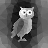 Búho poligonal en Grey Mosaic Background Imágenes de archivo libres de regalías