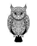 Búho sabio salvaje del vector del tatuaje gráfico místico de la tinta en un Backg blanco ilustración del vector