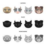 Búho, vaca, lobo, perro Iconos determinados de la colección del bozal animal en la historieta, negro, acción monocromática del sí stock de ilustración
