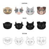 Búho, vaca, lobo, perro Iconos determinados de la colección del bozal animal en la historieta, negro, ejemplo de la acción del sí ilustración del vector