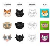 Búho, vaca, lobo, perro Iconos determinados de la colección del bozal animal en la historieta, negro, esquema, acción plana del s stock de ilustración