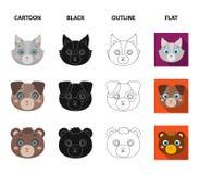 Búho, vaca, lobo, perro Iconos determinados de la colección del bozal animal del ` s en la historieta, negro, esquema, acción pla ilustración del vector