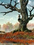 Búho y árbol de la caída stock de ilustración
