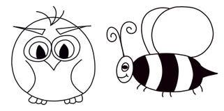 Búho y abeja Fotografía de archivo libre de regalías