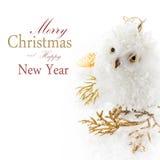 Búho y decoración de la Navidad en una nieve blanca Imágenes de archivo libres de regalías