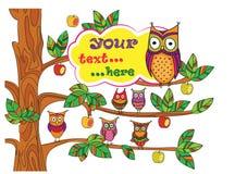 Búhos divertidos en el árbol ilustración del vector