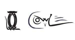 Búhos emblema Diversas posturas de búhos Imagen de archivo libre de regalías