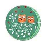 búhos en árbol libre illustration