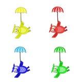 Búhos, volando debajo de los paraguas stock de ilustración