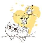 Búhos y luciérnaga del amor con la linterna Foto de archivo