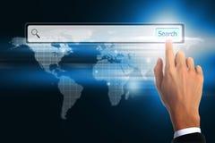 Búsqueda conmovedora de la barra del negocio de la mano World Wide Web foto de archivo