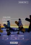 Búsqueda de concepto del viaje de la acción de ida y vuelta del vuelo de la reservación Foto de archivo
