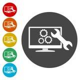 Búsqueda de diseño de la optimización del motor, icono de Seo stock de ilustración