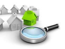 Búsqueda de nueva casa con el vidrio de la lupa Concepto 6 de las propiedades inmobiliarias Foto de archivo libre de regalías