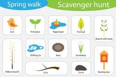 Búsqueda de objetos, paseo de la primavera, diversas imágenes coloridas para los niños, juego de búsqueda de la educación de la d ilustración del vector
