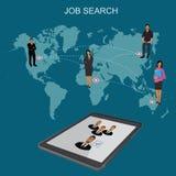 Búsqueda de trabajo, hora, buscando, recursos humanos, ejemplo plano del vector Imágenes de archivo libres de regalías