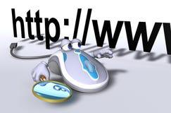 Búsqueda del Internet del E-Ratón Foto de archivo