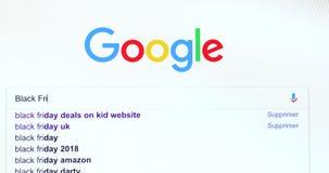 Búsqueda del Search Engine de Google para Black Friday almacen de video
