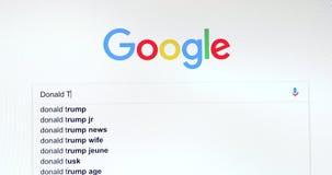 Búsqueda del Search Engine de Google para Donald Trump almacen de metraje de vídeo
