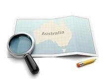 Búsqueda en un mapa de Australia ilustración del vector