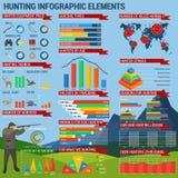 Búsqueda infographic con apuntar el cazador y cartas Fotos de archivo libres de regalías