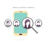 Búsqueda móvil del contacto Imagen de archivo libre de regalías