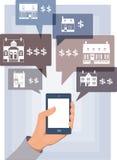 Búsqueda móvil para las propiedades inmobiliarias Fotografía de archivo