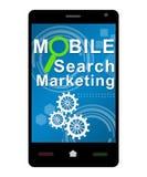 Búsqueda móvil que comercializa Smartphone Imagen de archivo libre de regalías