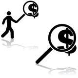 Búsqueda para el dinero ilustración del vector