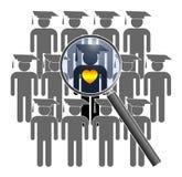 Búsqueda para el estudiante con habilidades sociales stock de ilustración