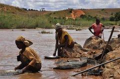 Búsqueda para el oro en el río Fotos de archivo libres de regalías