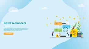 B?squeda y encontrar el mejor telecontrol del trabajo del freelancer para la bandera u homepage del aterrizaje - vector de la pla ilustración del vector