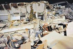 Búsqueda y rescate después de un desastre Foto de archivo libre de regalías