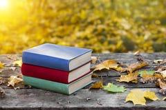 Bücher auf dem alten Holztisch, bedeckt in den gelben Ahornblättern Zurück zu Schule getrennte alte Bücher Schöner Herbsthintergr Stockfotografie