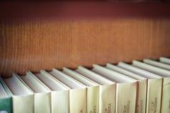 Bücher auf hölzernen Regalen Lizenzfreie Stockfotografie